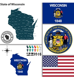 Map of Wisconsin with seal vector image vector image