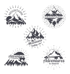 Mountain sketch logo set in retro style vector