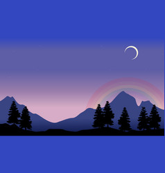 Rainbow on mountain scenery silhouettes vector