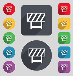 Road barrier icon sign a set of 12 colored buttons vector