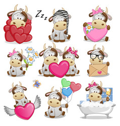 Set of cute cartoon cow vector