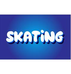 Skating text 3d blue white concept design logo vector