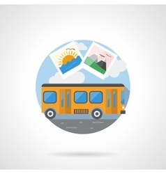 Travel by bus color detailed icon vector