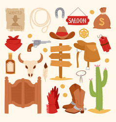 Wild west cartoon icons set cowboy rodeo equipment vector