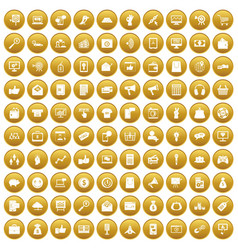 100 digital marketing icons set gold vector
