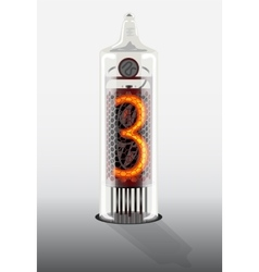 Digit 3 on vintage vacuum tube display vector