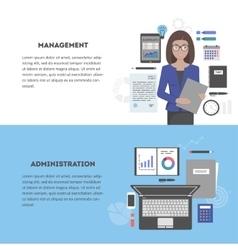 Set banner management and administration vector