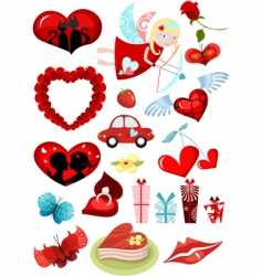 Valentines design elements set vector