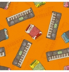 Seamless pattern keyboard instruments vector