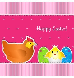 Easter card with chicken chick and two eggs vector