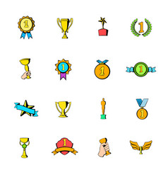 Award icons set cartoon vector
