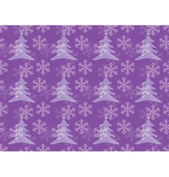 Snowflakes pattern with christmas trees vector