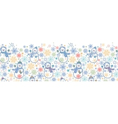 Cute snowmen horizontal seamless pattern vector image
