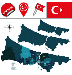 Map of istanbul with districts vector