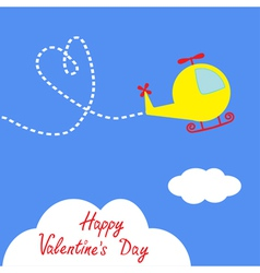 Cartoon helicopter dash heart valentines day vector