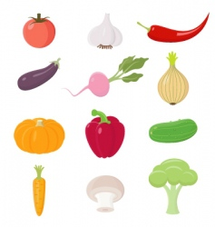 Vegetables icons ste vector