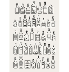 Alcohol drinks beverage icons vector