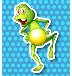 Little green frog dancing vector