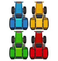 Top view of tractors in four colors vector