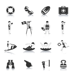 Lifeguard black icons set vector