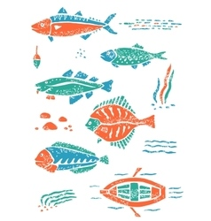 Set of fishes in naive lino style vector