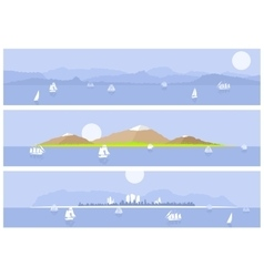 Yachts on the islands background vector