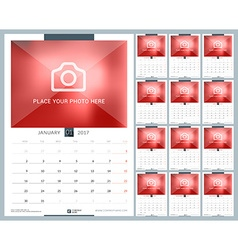 Wall monthly calendar for 2017 year 12 months vector