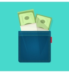 Jeans pocket with pile of money salary concept vector