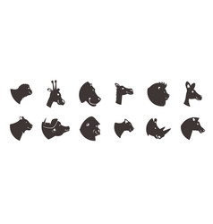 Animal heads silhouette set vector