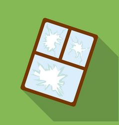 Broken window icon in flate style isolated on vector