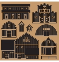 Buildings set with farm - monochrome vector