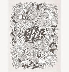 Cartoon cute doodles honey vector