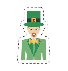 Cartoon portrait leprechaun bowtie suit st vector