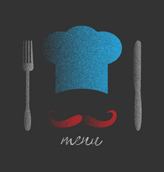 chef hat with big mustache vector image