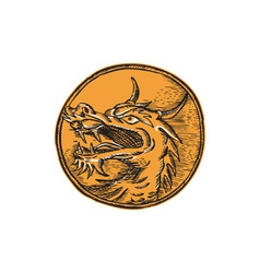 Chinese dragon head circle etching vector