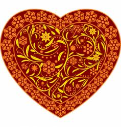 Claret heart with ornament vector