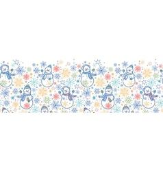 Cute snowmen horizontal seamless pattern vector image