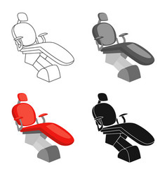 Dental chair icon in cartoon style isolated on vector