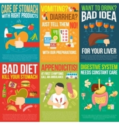 Digestion posters set vector