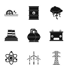 Energy sources icon set simple style vector