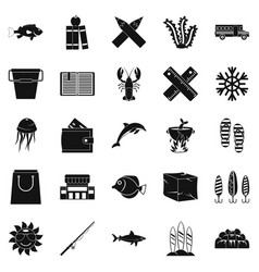 Fish food icons set simple style vector