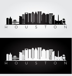 houston usa skyline and landmarks silhouette vector image vector image