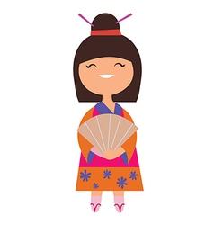 Japan girl character vector