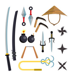 ninja weapons set assassin accessories vector image