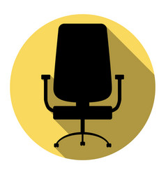 Office chair sign flat black icon with vector