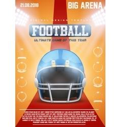 Poster Template of American Football Helmet vector image vector image
