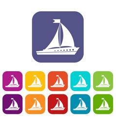 Sailing ship icons set vector