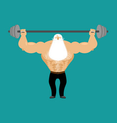 Senior man athlete and barbell strong grandfather vector