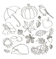 set of autumn symbols vector image