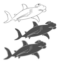 Set of depicting the hammer shark vector